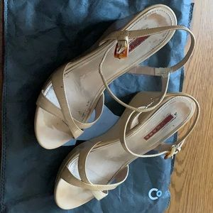 Prada tan patent open toe wedge sandals